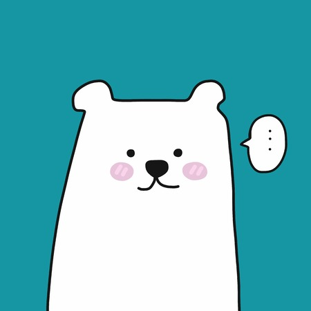 White bear thinking cute cartoon vector illustration doodle style  イラスト・ベクター素材