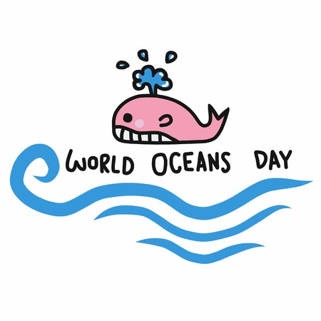 World oceans day word and cute whale cartoon vector illustration