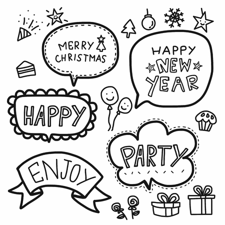 Merry Christmas word bubble cartoon vector set illustration doodle style  イラスト・ベクター素材