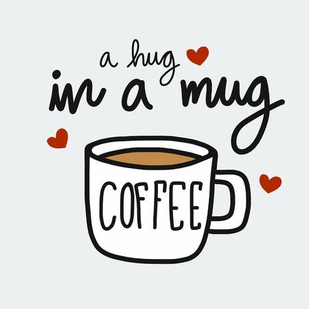 Koffie een knuffel in een mok cartoon vector illustratie doodle stijl