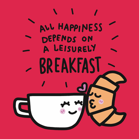 Coffee cup and croissant kissing cartoon and all happiness depends on a leisurely breakfast word vector illustration