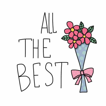 Wszystkie najlepsze słowo i różowy kwiat bukiet kreskówka wektor ilustracja stylu doodle
