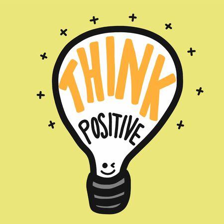 Think positive light bulb vector illustration