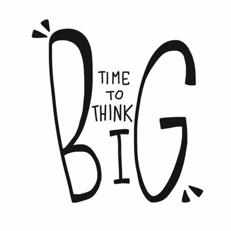 Zeit, große Wortbeschriftungsvektorillustration zu denken