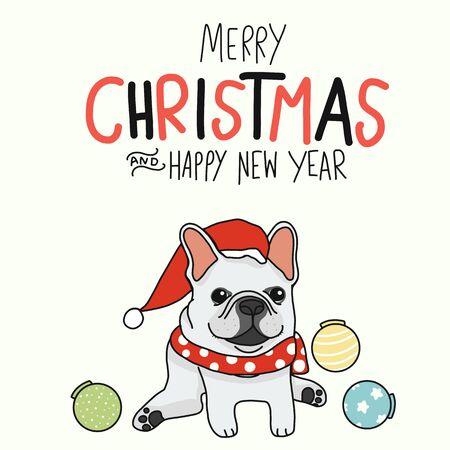 Weiße französische Bulldogge Frohe Weihnachten und ein glückliches neues Jahr tragen Weihnachtsmann-Hut-Cartoon-Vektor-Illustration-Doodle-Stil