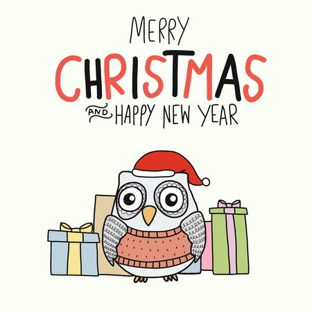 White Owl Merry Christmas and Happy New Year and gift boxes cartoon vector illustration doodle style