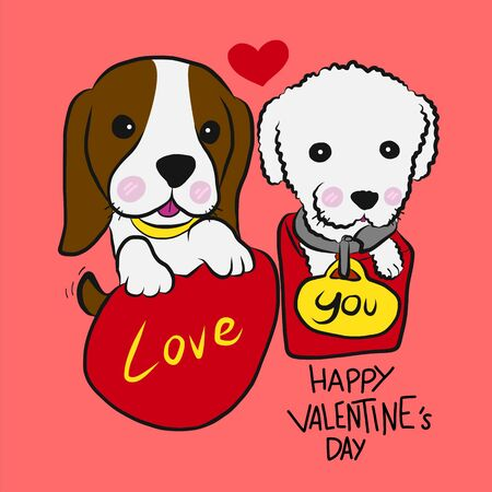 Puppy poodle and beagle couple Happy Valentine's Day cartoon vector illustration