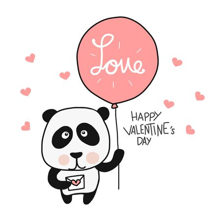 Panda with love balloon Happy Valentines Day cartoon vector illustration doodle style