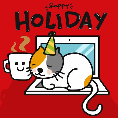 Happy Holiday with your cat word and cartoon vector illustration Illusztráció