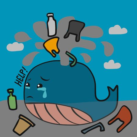 Whale crying of plastic garbage cartoon vector illustration Illusztráció