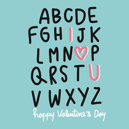 A B C I love U Happy Valentines Day vector illustration Ilustrace