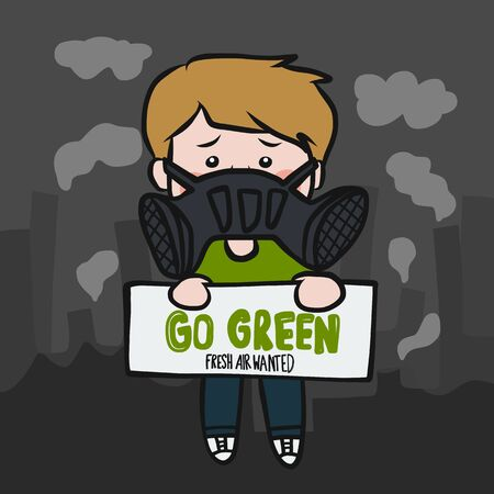 Go green fresh air wanted man wear anti-pollution mask cartoon vector illustration