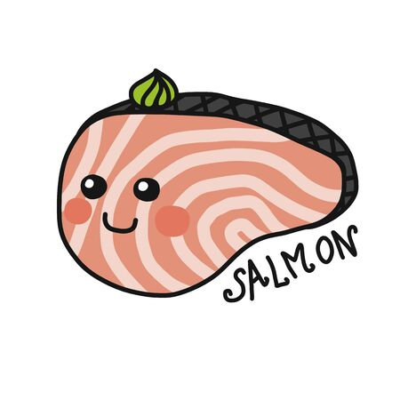 Salmon slide cartoon vector illustration doodle style