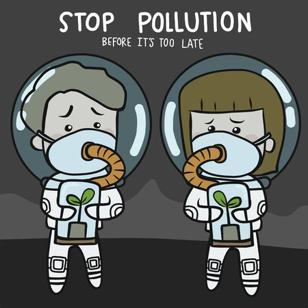 Stop pollution before its too late future people cartoon character vector illustration doodle style