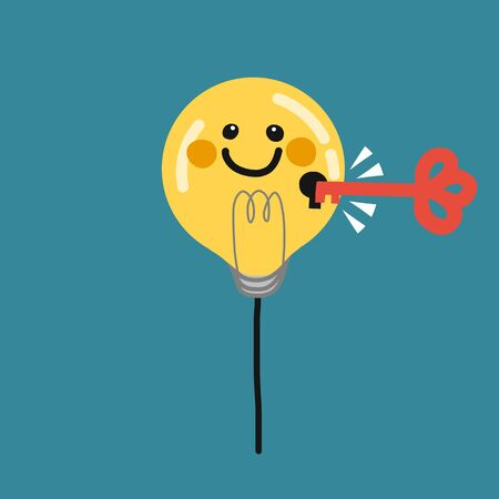 Light bulb smiley face balloon and key hold vector illustration, business concept
