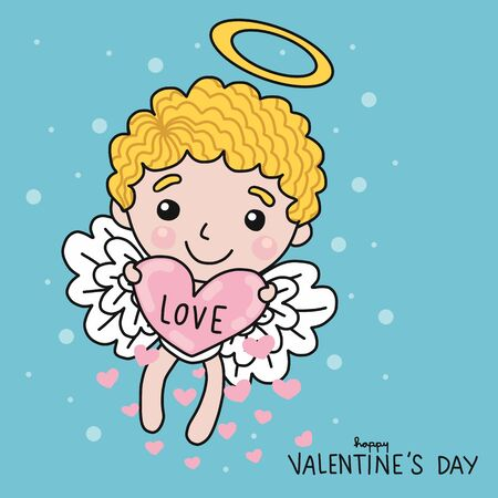 Cute cupid with love heart on sky cartoon vector illustration doodle style Stock Illustratie