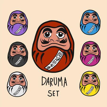 Daruma lucky charm set with Japanese word mean happiness and successful cartoon illustration Ilustração