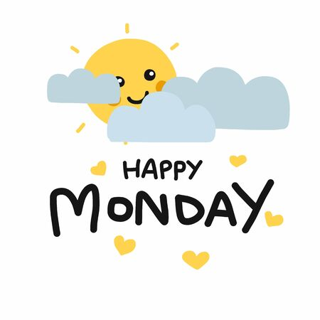 Happy Monday cute sun smile and cloud cartoon vector illustration doodle style Archivio Fotografico - 133542230