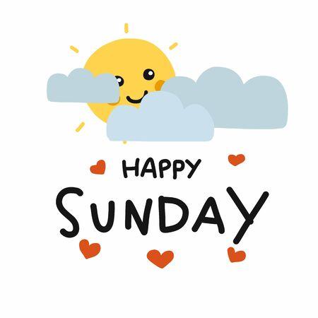 Happy Sunday cute sun smile and cloud cartoon vector illustration doodle style Archivio Fotografico - 133542255