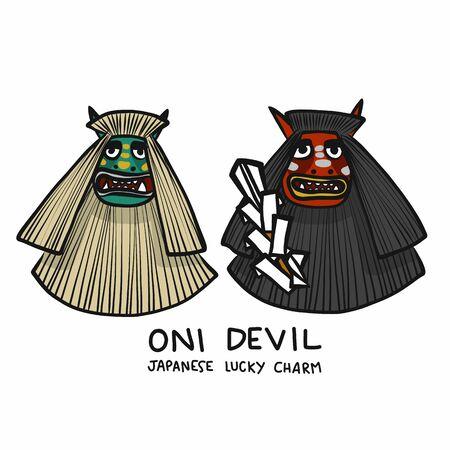 Oni Devil Japanese lucky charm cartoon vector illustration