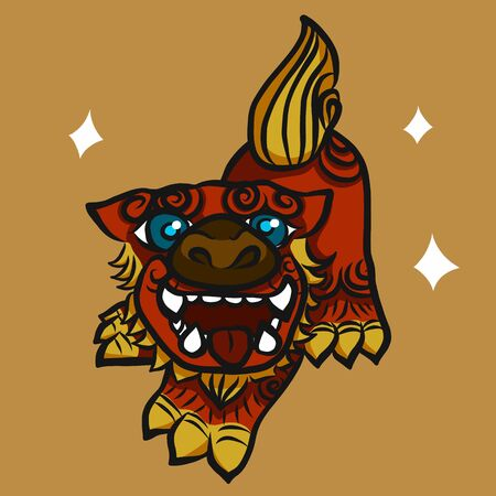 Japanese Lion with sparkle eyes cartoon vector illustration Vettoriali