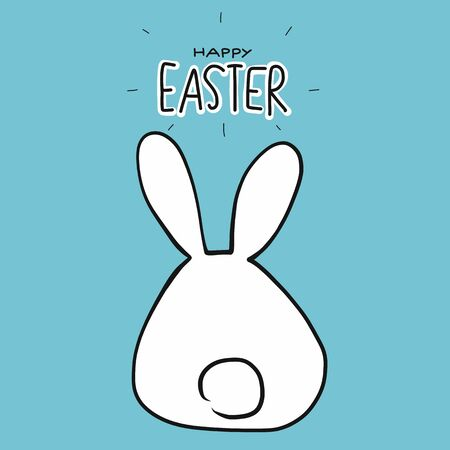 Rabbit looking from behind happy Easter cute cartoon vector illustration