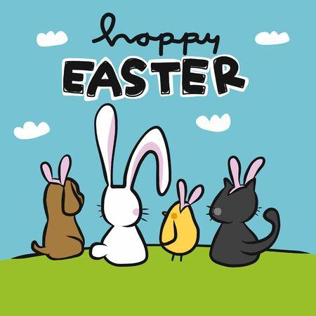 Happy Easter cute animal friends wear rabbit ear looking to sky cartoon vector illustration