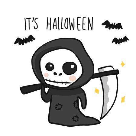 L'angelo della morte con la falce Illustrazione di vettore di doodle del fumetto di Halloween Vettoriali