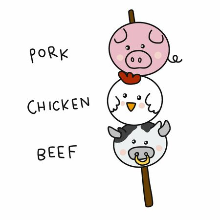 Pork, Chicken and Beef ball in wood stick cartoon vector illustration