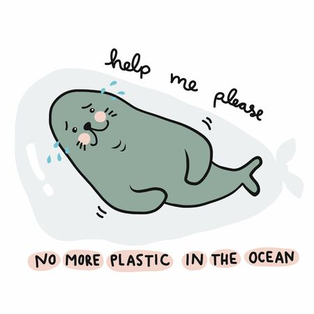 No more plastic in the ocean, Seal crying because struck in plastic bag and asking for help cartoon vector illustration doodle style Vektoros illusztráció