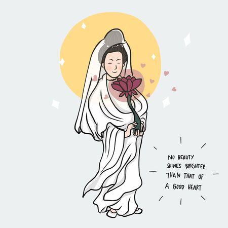 Guan Yim (Chinese goddess) cartoon vector illustration