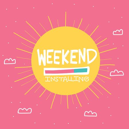 Weekend installing big sun on sky cartoon vector illustration