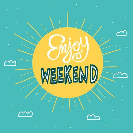 Enjoy weekend big sun on sky cartoon vector illustration