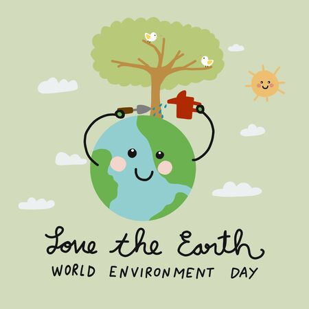 Love the Earth, World Environment Day world cute smile earth watering herself, Ecology concept cartoon vector illustration doodle style