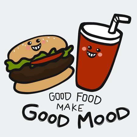 Good food make good mood hamburger and soda smile cartoon vector illustration doodle style