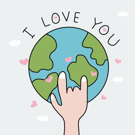Hand make I love you to earth cartoon vector illustration doodle style