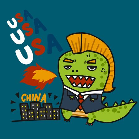 USA monster attacking China cartoon vector illustration
