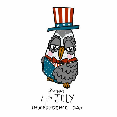 Cute Owl 4th July Independence Day cartoon vector illustration