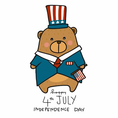 Cute bear 4th July Independence Day cartoon vector illustration