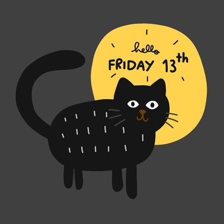 Friday 13th black cat and full moon cartoon vector illustration 일러스트