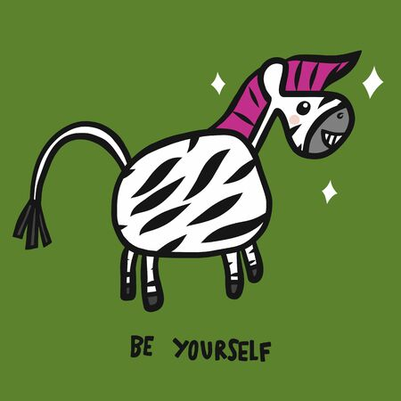 Punk zebra be yourself cartoon vector illustration