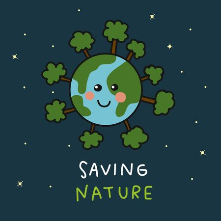Earth smile around with tree saving nature cartoon vector illustration