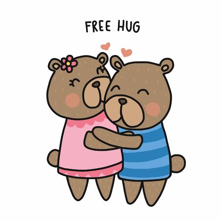 Couple bear free hug cartoon vector illustration doodle style