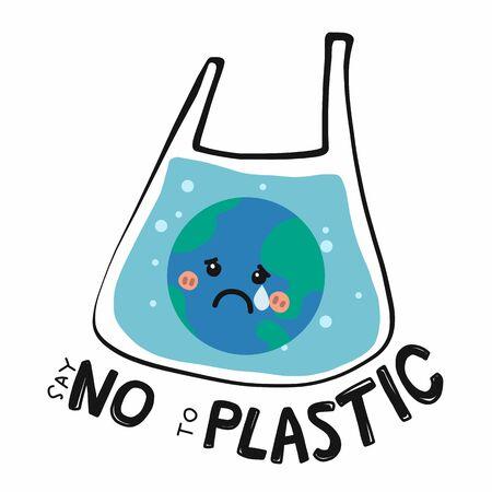 Dites non à la terre triste en plastique dans l'illustration de vecteur de dessin animé de sac en plastique