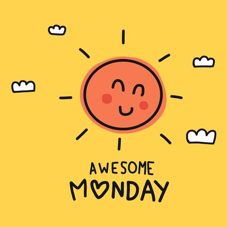 Awesome Monday cute sun smile doodle style vector illustration Иллюстрация