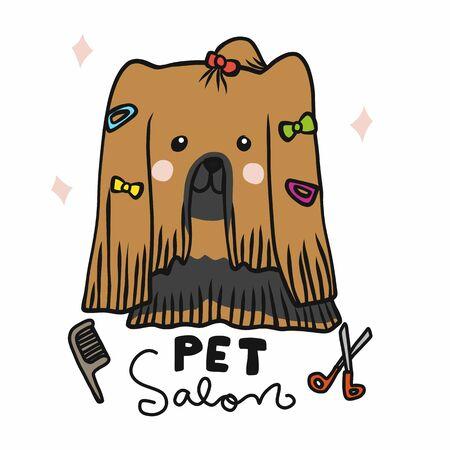 Pet salon beauty long hair Shih Tzu dog cartoon vector illustration