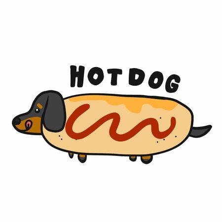 Dachshund dog in hotdog cartoon logo vector illustration doodle style Illustration