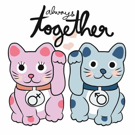 Couple lucky cat Pink and Blue color always together vector illustration Illustration