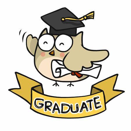 Owl student success graduate cartoon vector illustration  イラスト・ベクター素材