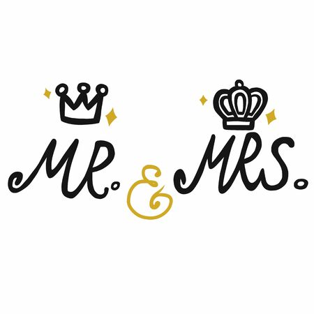 Mr. and Mrs. with crown icon vector illustration Vettoriali